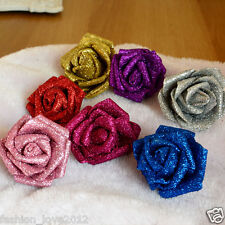 Glitter Flowers Gold Roses Silver Wedding Flowers Birthday Party Decor 100 pcs