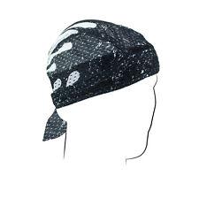 Black White Pinstripe Flames Vented Sweatband Air Flow Durag Biker Head Wrap