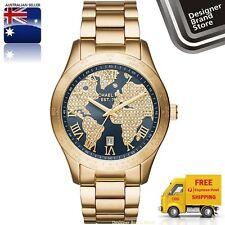 New Michael Kors Ladies Watch Layton Gold Tone Navy Blue Glitz World Dial MK6243