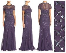 NWT! $318 Adrianna Papell Beaded Mesh Gown Prune Purple  [SZ: 2 or 6 or 8 ] #M33