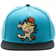 POKEMON MEOWTH COLOR BLOCK SNAPBACK HAT CAP BLUE BLACK ADJUSTABLE POKEBALL TEXT