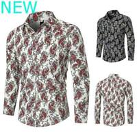 Shirt Casual Blouse Stylish Long Sleeve Luxury Mens Dress Shirts Floral Slim Fit