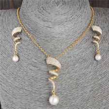 Women Bridal Wedding Party Prom Pearl Rhinestone Necklace+Earrings Jewelry Set