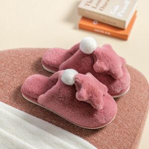 Women Men Faux Fur Fluffy Star Slip on Slippers Furry Lined Flats Shoes Lovely