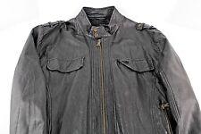 Calvin Klein Mens Dark Grey Vegan Leather Moto Jacket Coat size XL
