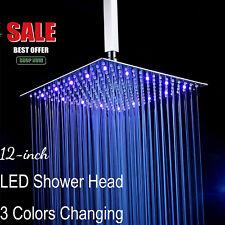 "12"" LED Rainfall Shower Head Square Ultrathin Bathroom Showerhead Brushed Nickel"