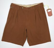 Tommy Bahama Rust Silk Shorts Size 32 Brown Pleated Dress Shorts Mid Length
