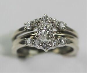 STRIKING 14k WHITE GOLD 1 CARAT DIAMOND BRIDAL SET size 5