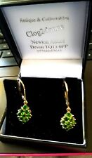 EARRINGS 9CT GOLD GREEN  RUSSIAN DIOPSIDE & DIAMOND TRULY STUNNING