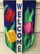 """Spring Summer Blue Welcome Outdoor Garden Flag Tulips 45"""" x 26"""" Nylon"""