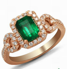 Solid 14K Rose Gold Genuine Natural Colombia Emerald Diamonds Engagement Ring
