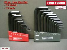 Craftsman Hand Tools 26 pc Sae & Metric Mm Allen / Hex Key wrench set ! 20 40