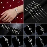 Silver Elegant Women Charm Round Hollow Chain Bracelet Cuff Bangle Hot Gift