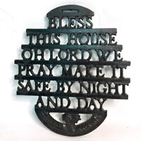 "Vintage Wilton ""BLESS THIS HOUSE OH LORD"" Cast Iron Kitchen Decor Trivet Sign"