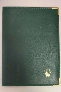 Genuine Rolex Green Leather Paperwork/ Card or passport wallet, Vintage 1980's