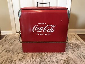 Vintage 1950's Coca Cola metal cooler by Acton Mfg Co with Bottle Opener & Drain