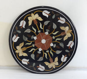"30"" black Marble round coffee Table Top Inlay pietra dura work art home decor"