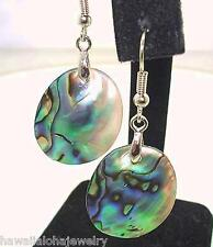 20mm Oval New Zealand Paua Abalone Shell Dangling Hook 316L Stainless Earrings