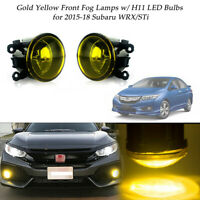 2pcs Golden Yellow Front Fog Lamps Driving LED Lights for 2015-18 Subaru WRX/STi