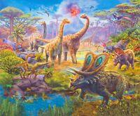 "35"" Fabric Panel - Robert Kaufman Digital Picture This Dinosaur Jungle Scene"