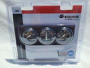 """Equus 6075 Mini Triple Gauge Kit Oil Amp Temp Black 1 1/2"""""""