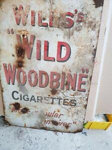 Will's Wild Woodbine Cigarettes Original Enamel Sign