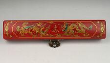 Asiatique Chinois collection vintage ancien fait main en cuir rouge Longfeng Box