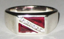 Scuba Jewelry,Dive Flag with CZ and Rubies Ring SZ 14