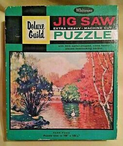 PARK POND PUZZLE VINTAGE WHITMAN DELUXE GUILD 304 PC NO 4615 SER 201 SWAN TREES.