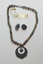 1940's Mexican Sterling and Multi-colored Jade Necklace and earring set