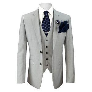 Mens Cavani Designer Lined Tailored Fit Light Grey Summer Wedding 3 Piece Suit
