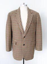 Vtg 70s SUPERFLY Brown Green Blue Check Wool Tweed Blazer Vegas Pimp Jacket 44