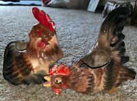 Lot Of 2 Japan Ceramic Porcelain Chicken Rooster Planter Wales