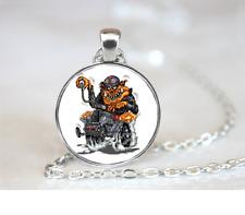 Orange Monster On Hot Rod PENDANT NECKLACE Chain Glass Tibet Silver Jewellery