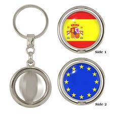 Spanish & EU Flag Spinning Keyring spain espana eurovision hala euro 2016 NEW