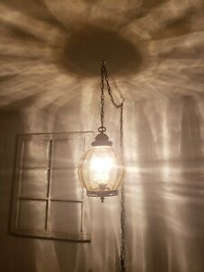 Vintage 3 Light Amber Glass Globe Swag Hanging Light Mid Century Lamp REWIRED