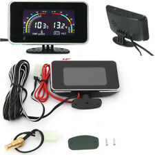 Car LCD Digital Display 2 in 1 Voltmeter Water Temp Temperature Gauge 9V - 36V