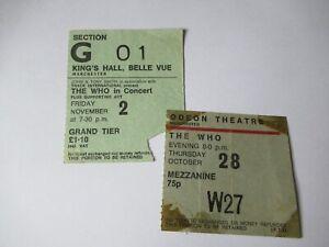 RARE UK CONCERT TICKET X2 THE WHO 1971 & 1973 QUADROPHENIA TOUR