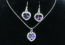"""Silver Tone Heart Necklace and Earrings Set With Crystals 15"""" + 2.5"""" Extender"""