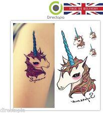 Unicornio Tatuaje Kawaii Harajuku Impermeable Cuerpo calcomanías extraíble