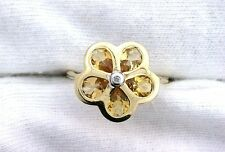 10Kt REAL Yellow Gold Natural Pear Citrine Diamond Flower Ladies Gemstone Ring