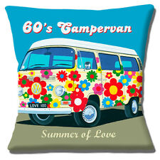 "BRAND NEW Vintage Retro 60's Large VW Campervan Flower 16"" Pillow Cushion Cover"