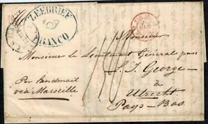 Dutch East Indies Stampless Cover w/ Zeebrief/Trumpet/Franco Wax Seal