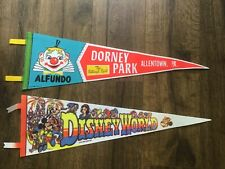 "Vintage Walt Disney World Mickey Mouse 25"" Pennant & Downey Park Allentown PA"