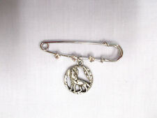 """2"""" PIN BROOCH w 3 CRYSTALS & ROUND HOWLING WOLF w MOON & FEATHER PEWTER CHARM"""