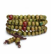 Bracelet Tibétain Mala en perles de bois 6 mm + noeud sans fin. Coloris vert