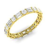 2.00 Ct Baguette Cut Diamond Wedding Eternity Band 14K Yellow Gold Ring Size 5 6