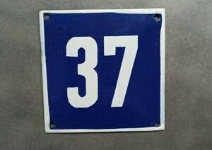 Vintage Enamel Sign Number 37 Blue House Door Street Plate Metal Porcelain Tin