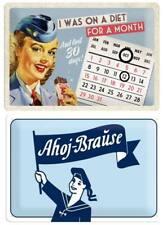2 Vintage Blechschilder 20x30 - Ahoj Brause + Kalenderschild I was on Diet