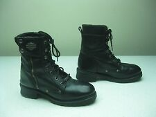 HARLEY DAVIDSON BLACK LEATHER ZIP UP LACE MOTORCYCLE BIKER BOOTS SIZE 8 D